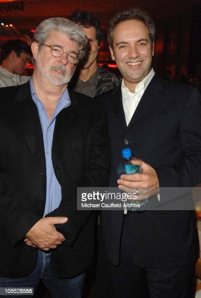 George Lucas and Sam Mendes director during Universal Pictures' 'Jarhead' Premiere After Party at The Palladium in Los Angeles California United...