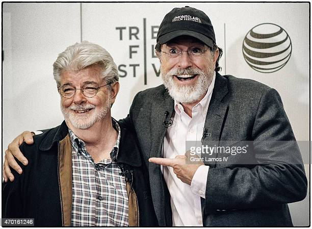 George Lucas and Stephen Colbert attend Tribeca Talks Director Series George Lucas With Stephen Colbert during the 2015 Tribeca Film Festival at BMCC...