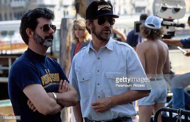 George Lucas and Steven Spielberg on set of the film 'Indiana Jones And The Last Crusade' 1989