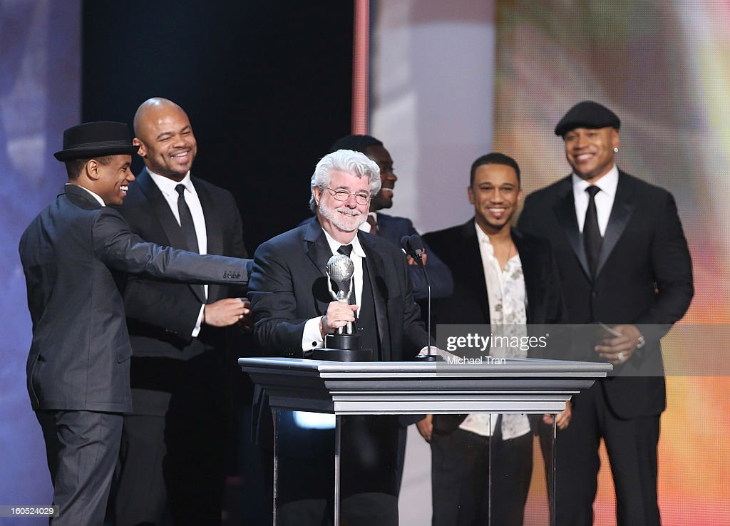 George Lucas and the cast of 'Red Tails' onstage at the 44th NAACP Image Awards show held at The Shrine Auditorium on February 1 2013 in Los Angeles...