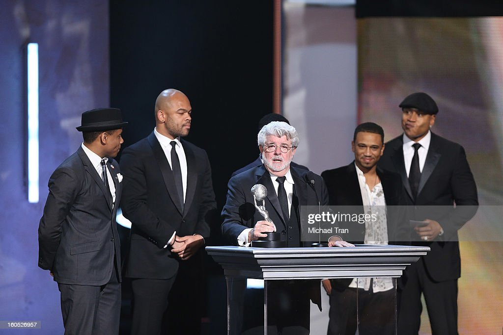 George Lucas and the cast of 'Red Tails' onstage at the 44th NAACP Image Awards - show held at The Shrine Auditorium on February 1, 2013 in Los Angeles, California.