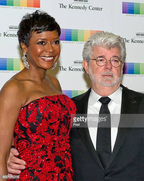 George Lucas and wife Mellody Hobson arrive for the formal Artist's Dinner honoring the recipients of the 38th Annual Kennedy Center Honors hosted by...