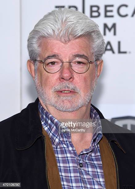 George Lucas attends Tribeca Talks Director Series George Lucas With Stephen Colbert during the 2015 Tribeca Film Festival at BMCC Tribeca PAC on...