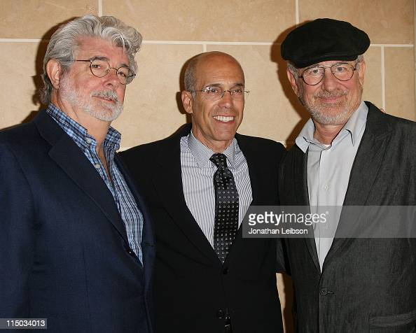 George Lucas Jeffrey Katzenberg and Steven Spielberg attend the Dedication Of The Marilyn And Jeffrey Katzenberg Center For Animation at USC on June...