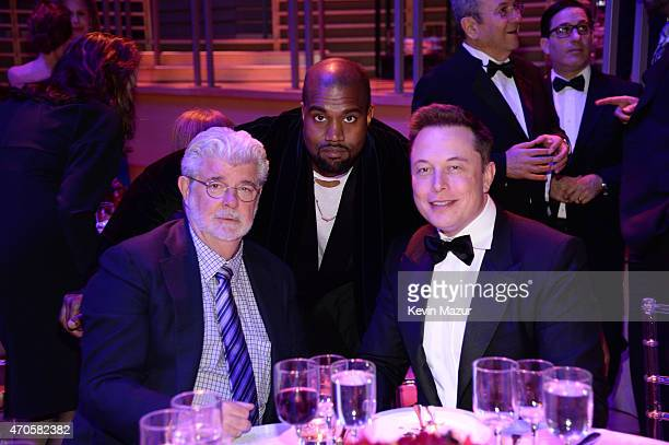 George Lucas Kanye West and Elon Musk attend TIME 100 Gala TIME's 100 Most Influential People In The World at Jazz at Lincoln Center on April 21 2015...