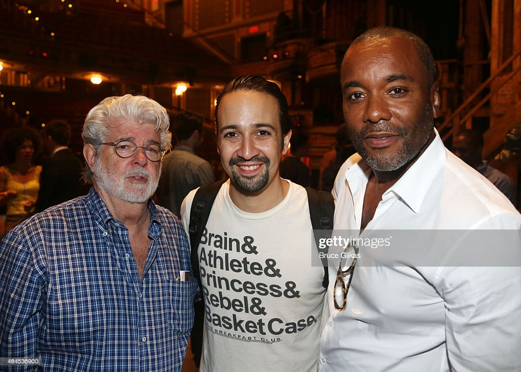 George Lucas Lin Manuel Miranda and Lee Daniels pose backstage at the hit musical 'Hamilton' on Broadway at The Richard Rogers Theater on August 19...