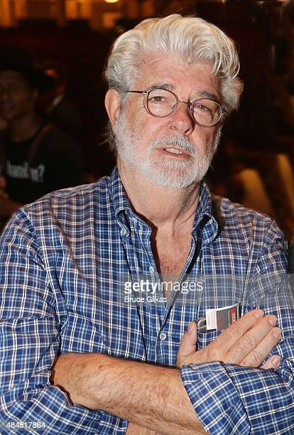 George Lucas poses backstage at the hit musical 'Hamilton' on Broadway at The Richard Rogers Theater on August 19 2015 in New York City