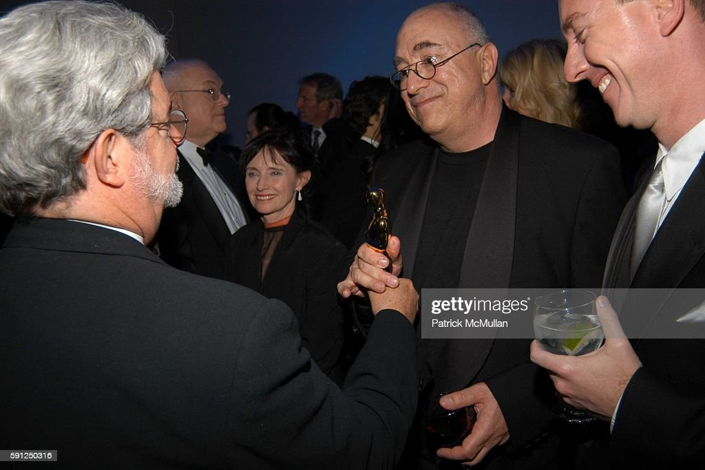 George Lucas Randy Thom and attend Vanity Fair Oscar Party at Morton's Restaurant on February 27 2005 in Los Angeles California
