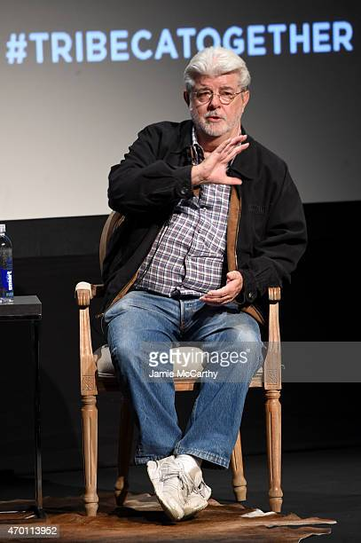 George Lucas speaks onstage at Tribeca Talks Director Series George Lucas With Stephen Colbert during the 2015 Tribeca Film Festival at BMCC Tribeca...