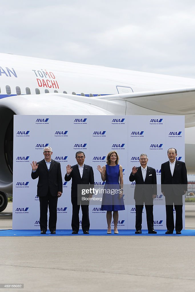 George Maffeo, president of Boeing Japan, from left to right, <a gi-track='captionPersonalityLinkClicked' href=/galleries/search?phrase=Shinichiro+Ito&family=editorial&specificpeople=5666038 ng-click='$event.stopPropagation()'>Shinichiro Ito</a>, president and chief executive officer of ANA Holdings Inc., <a gi-track='captionPersonalityLinkClicked' href=/galleries/search?phrase=Caroline+Kennedy&family=editorial&specificpeople=93208 ng-click='$event.stopPropagation()'>Caroline Kennedy</a>, U.S. ambassador to Japan, Yoji Ohashi, chiarman of of ANA Holdings Inc., and Tetsuro Fukuda, director of ANA Holdings Inc., pose for a photograph during a news conference at the unveiling of the All Nippon Airways Co. (ANA) Boeing Co. 787-9 Dreamliner aircraft in Tokyo, Japan, on Monday, Aug. 4, 2014. Japan's largest airline, which won double the amount of new international take-off and landing slots at Haneda than Japan Airlines Co., said overseas travel sales jumped more than a fifth in the last quarter as it bounced back to profit in the period, compared with a loss a year earlier. Photographer: Noriyuki Aida/Bloomberg via Getty Images