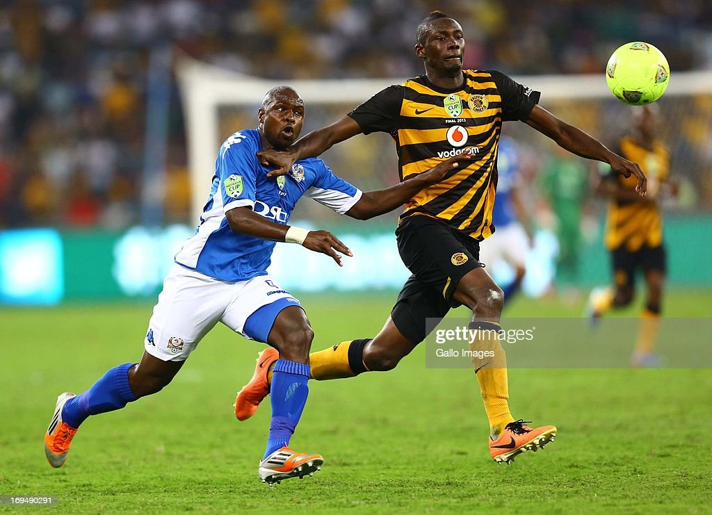 George Maluleka of United in action with Eric Mathoho (R) of the Chiefs during the Nedbank Cup Final between SuperSport United and Kaizer Chiefs at Moses Mabhida Stadium on May 25, 2013 in Durban, South Africa.