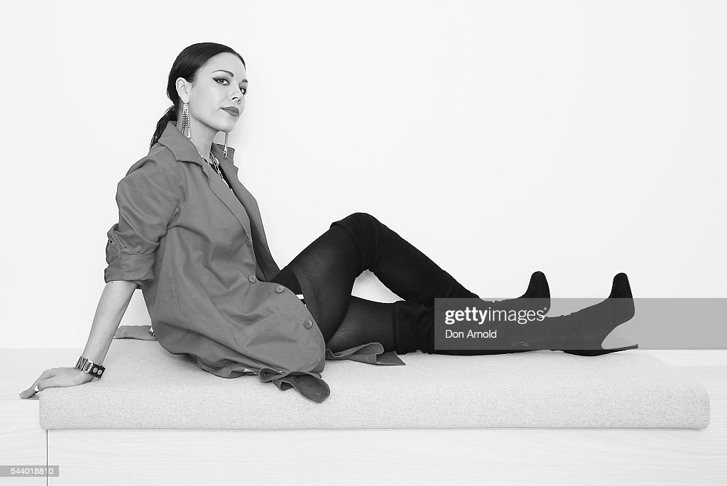 Image has been converted to Black & White) George Maple poses at TwitterAU on July 1, 2016 in Sydney, Australia.