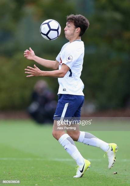 George Marsh of Tottenham Hotspur controlls the ball during the Premier League 2 match between Tottenham Hotspur and Leicester City at Enfield...