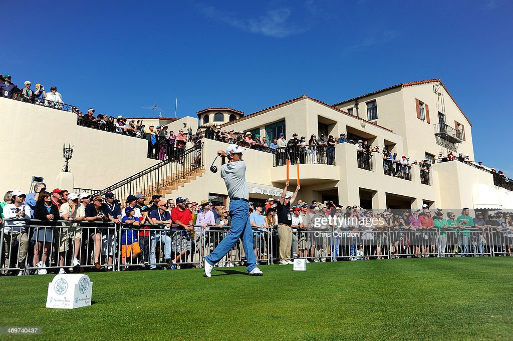 George Mc Neill tees off on the 1st hole at the start of the final round of the Northern Trust Open at the Riviera Country Club on February 16 2014...
