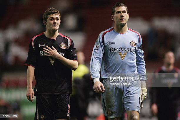 George McCartney and Kelvin Davis of Sunderland look dejected after being relegated after the Barclays Premiership match between Manchester United...
