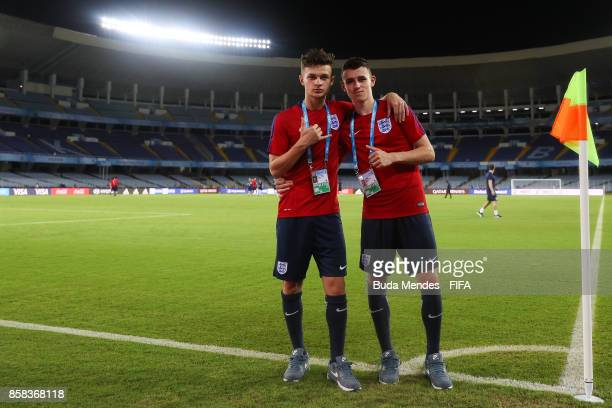 George McEachran and Philip Foden of England pose for photographers during a training session ahead of their first match in the FIFA U17 World Cup...