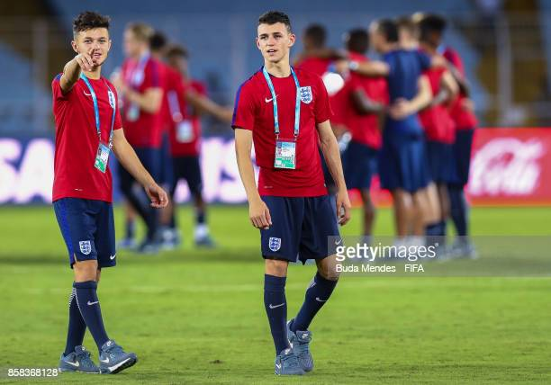 George McEachran gestures with Philip Foden of England during a training session ahead of their first match in the FIFA U17 World Cup India 2017...