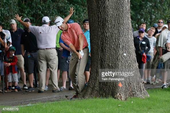 George McNeill hits a shot on the 12th hole during the third round of the Crowne Plaza Invitational at the Colonial Country Club on May 23 2015 in...
