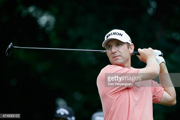George McNeill hits a shot on the 18th tee during the third round of the Crowne Plaza Invitational at the Colonial Country Club on May 23 2015 in...
