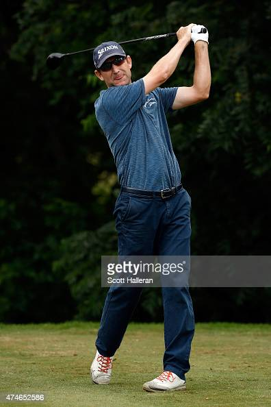 George McNeill hits a shot on the 6th tee during the final round of the Crowne Plaza Invitational at the Colonial Country Club on May 24 2015 in Fort...