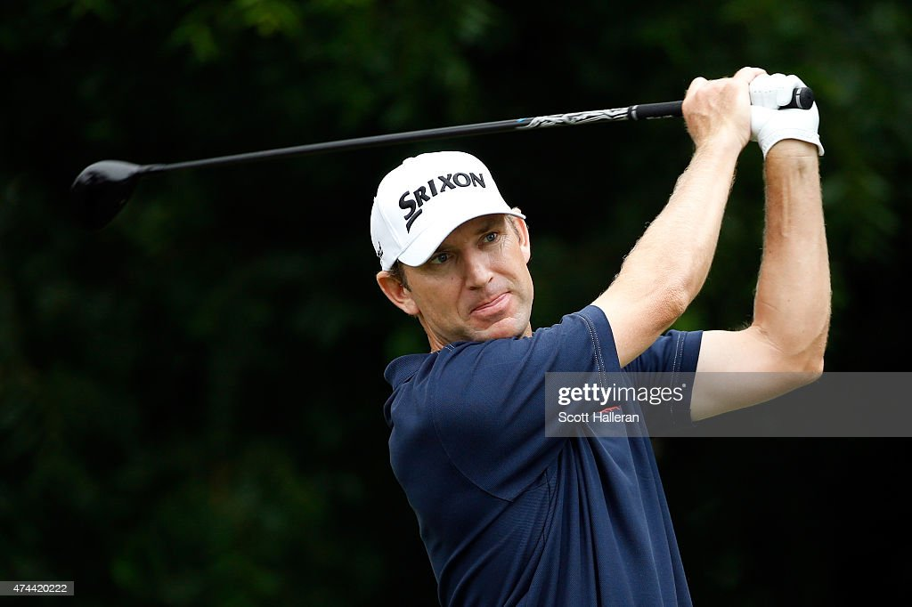 George McNeill hits a shot on the 6th tee during the second round of the Crowne Plaza Invitational at the Colonial Country Club on May 22 2015 in...