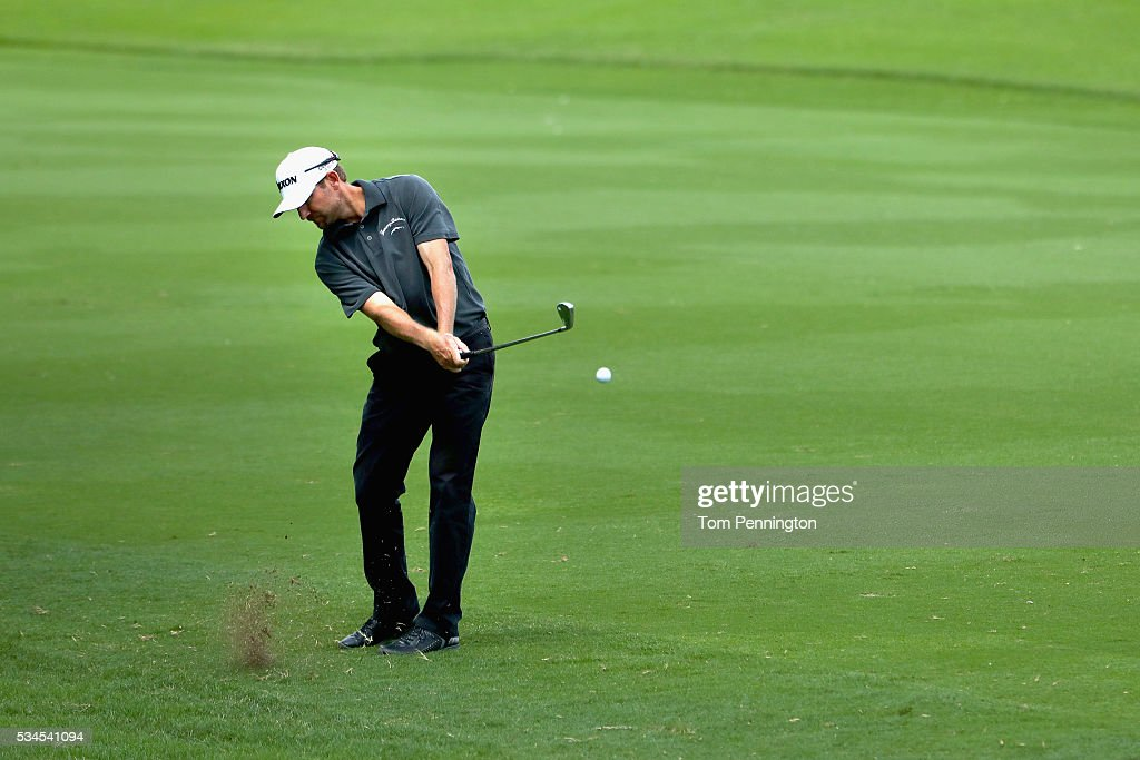 George McNeill hits a shot on the ninth hole during the First Round of the DEAN & DELUCA Invitational at Colonial Country Club on May 26, 2016 in Fort Worth, Texas.