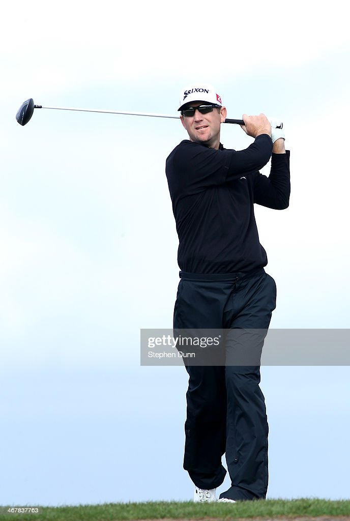 George McNeill hits a tee shot during the first round of the ATT Pebble Beach National ProAm at Monterey Peninsula Country Club on February 6 2014 in...