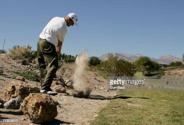 George McNeill hits onto the sixth green during the fourth round of the Fryscom Open benefiting Shriners Hospitals for Children at TPC Summerlin...