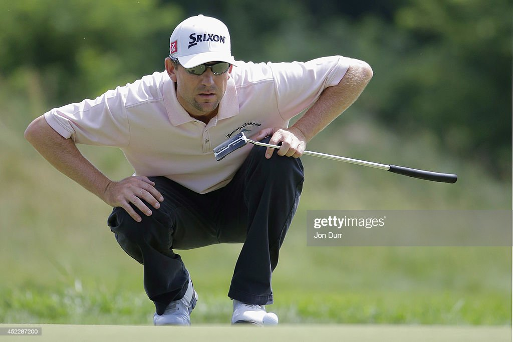 George McNeill lines up a putt on the 17th hole during the final round of the Greenbrier Classic at the Old White TPC on July 6 2014 in White Sulphur...