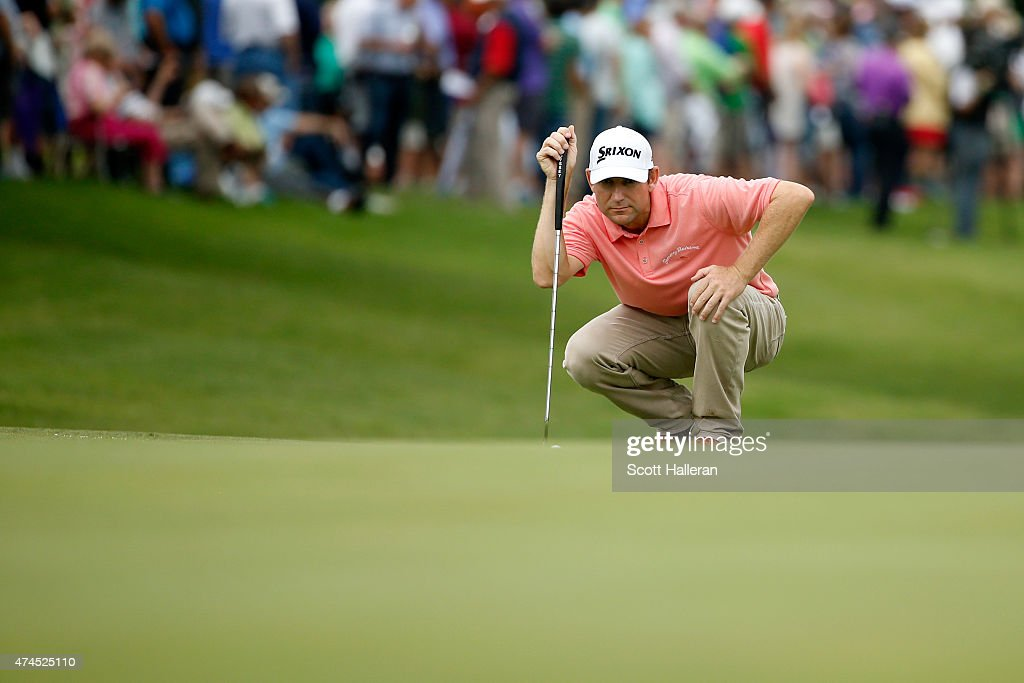George McNeill lines up a shot from the 12th green during the third round of the Crowne Plaza Invitational at the Colonial Country Club on May 23...