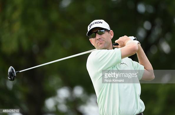George McNeill of the United States hits his tee shot on the seventh hole during the first round of The Barclays at Plainfield Country Club on August...