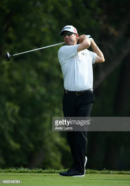 George McNeill of the United States watches a tee shot during a practice round prior to the start of the 96th PGA Championship at Valhalla Golf Club...