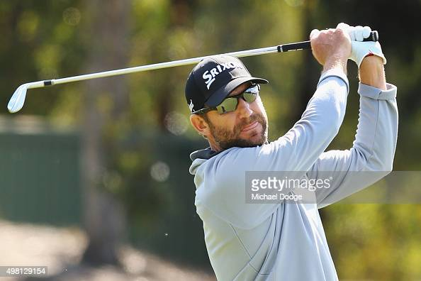 George McNeill of the USA hits an approach shot during day three of the 2015 Australian Masters at Huntingdale Golf Club on November 21 2015 in...