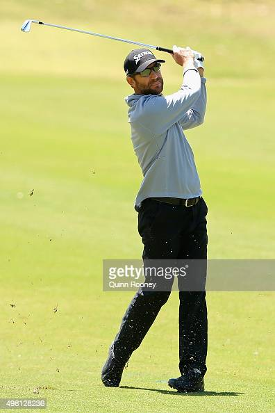 George McNeill of the USA plays an approach shot during day three of the 2015 Australian Masters at Huntingdale Golf Club on November 21 2015 in...