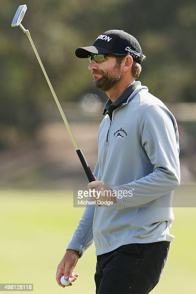 George McNeill of the USA reacts after making a putt during day three of the 2015 Australian Masters at Huntingdale Golf Club on November 21 2015 in...