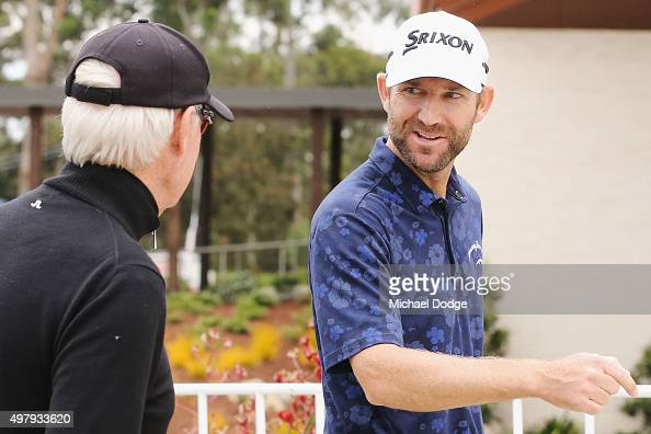 George McNeill of the USA receives a compliment from a fan after his round during day two of the 2015 Australian Masters at Huntingdale Golf Club on...