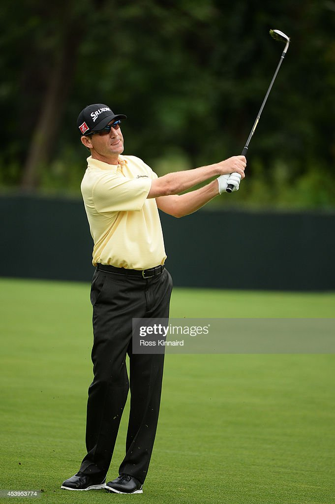 George McNeill plays his third shot on the 13th hole during the second round of The Barclays at The Ridgewood Country Club on August 22 2014 in...