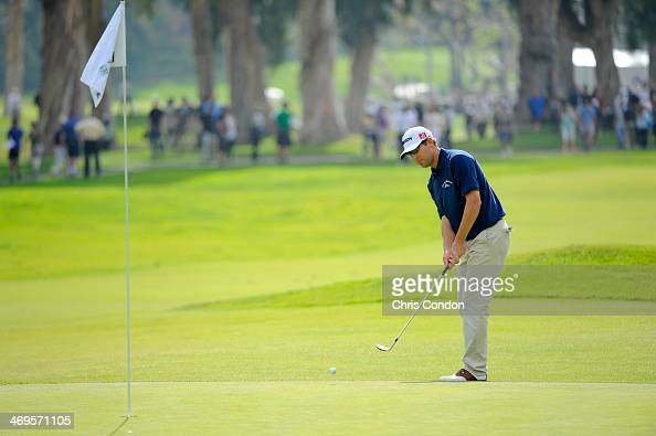 George McNeill putts for birdie on the 17th green during the third round of the Northern Trust Open at Riviera Country Club on February 15 2014 in...