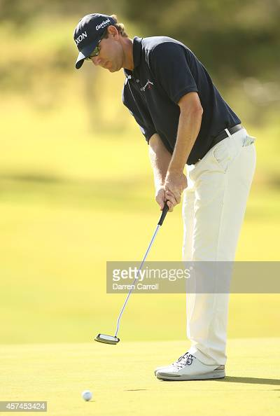 George McNeill putts on the 11th green during the third round of the Shriners Hospitals For Children Open at TPC Summerlin on October 18 2014 in Las...