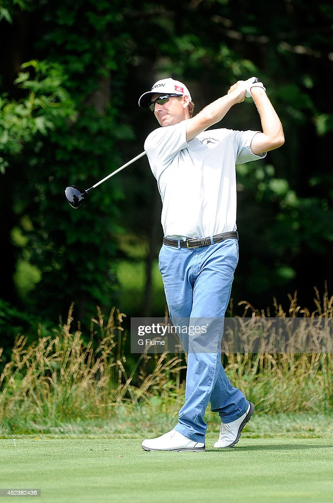 George McNeill tees off on the sixth hole during the final round of the Quicken Loans National at Congressional Country Club on June 29 2014 in...