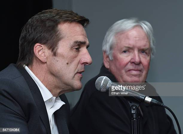 George McPhee speaks as majority owner of the Las Vegas NHL franchise Bill Foley looks on after announcing McPhee as the team's general manager...
