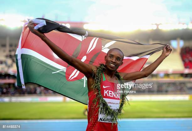 George Meitamei Manangoi of Kenya celebrates winning gold in the final of the mens 1500m on day three of the IAAF U18 World Championships at the...