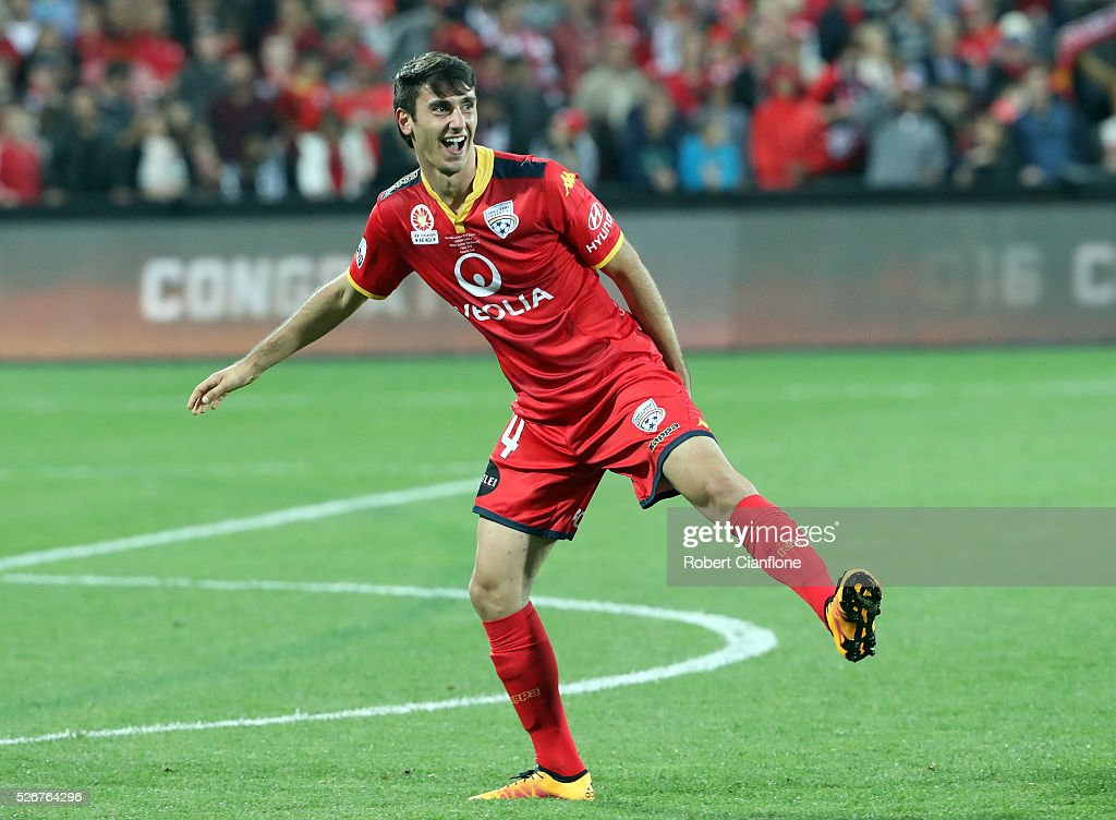 George Mells of Adelaide United celebrates after United defeated the Wanderers during the 2015/16 A-League Grand Final match between Adelaide United and the Western Sydney Wanderers at Adelaide Oval on May 1, 2016 in Adelaide, Australia.