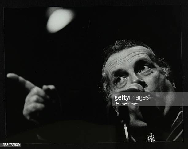 George Melly on stage at the Forum Theatre Hatfield Hertfordshire 8 April 1983