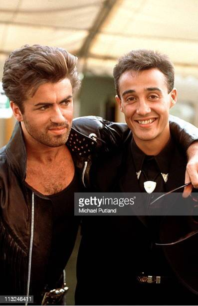 George Michael and Andrew Ridgeley of Wham backstage on there farewell concert 'The Final' at Wembley Stadium Londo 26th June 1986