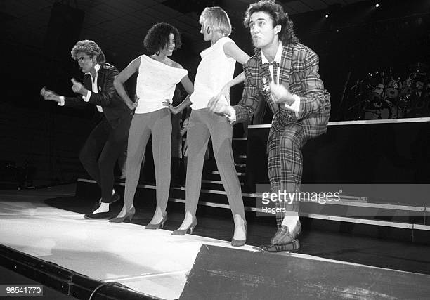 George Michael and Andrew Ridgeley of Wham pictured with backing singers Pepsi Shirlie performing in Newcastle 6th December 1984