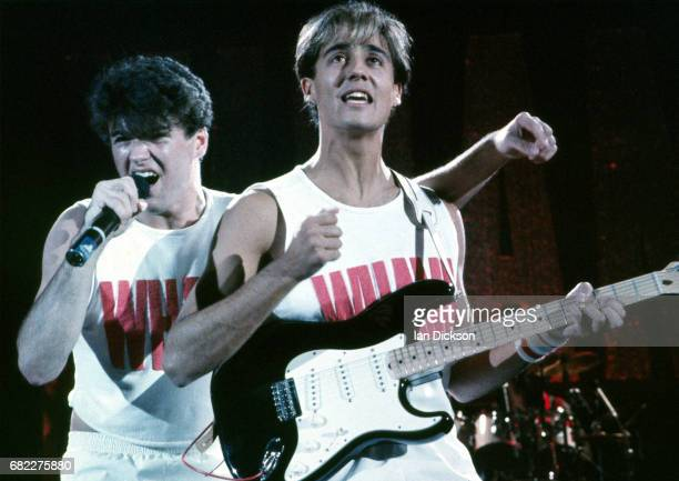 George Michael and Andrew Ridgley of Wham performing on stage at Hammersmith Odeon London 28 October 1983