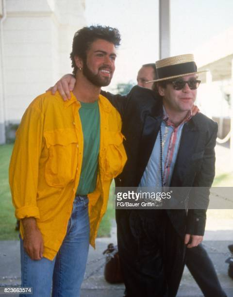 George Michael and Elton John at Live Aid on July 13 1985 in London United Kingdom 170612F1