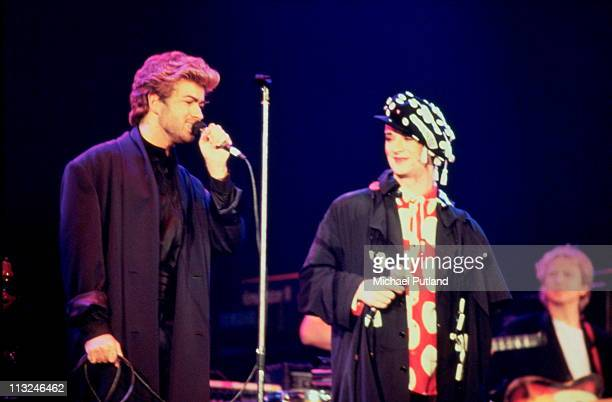 George Michael Boy George Andy Summers perform on stage at AIDS awareness concert London April 1987