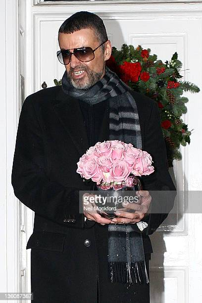 George Michael gives a press conference outside his North London Home on December 23 2011 in London United Kingdom The singer spoke to the media...